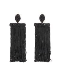 Oscar de la Renta | Black Fringed Clip-on Earrings | Lyst