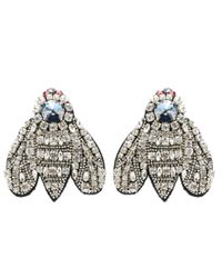 Rochas | Metallic Crystal-embellished Clip-on Earrings | Lyst