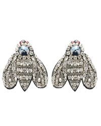Rochas - Metallic Crystal-embellished Clip-on Earrings - Lyst