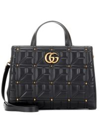 Gucci - Black Gg Marmont Matelassé Leather Tote - Lyst