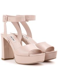 Miu Miu - Pink Patent-Leather Platform Sandals - Lyst