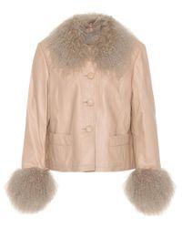 Saks Potts - Natural Shearling-trimmed Leather Jacket - Lyst