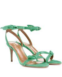 Aquazzura - Green Passion 75 Suede Sandals - Lyst