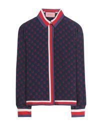 Gucci - Blue Ghost Printed Silk Shirt - Lyst