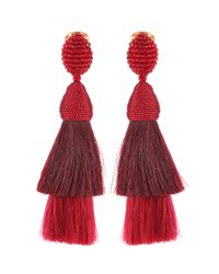 Oscar de la Renta - Red Clip-on Earrings - Lyst