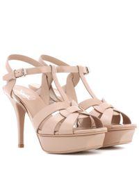 Saint Laurent - Natural Tribute 75 Patent Leather Sandals - Lyst