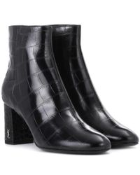 Saint Laurent - Black Loulou 70 Leather Ankle Boots - Lyst