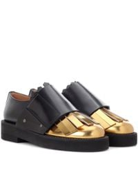 Marni - Black Metallic Leather And Leather Monk Shoes - Lyst