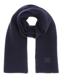 Acne - Blue Bansy Face Knitted Wool Scarf - Lyst