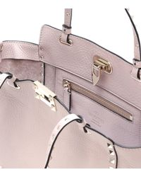 Valentino - Pink Rockstud Small Leather Tote - Lyst