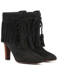 See By Chloé - Black Fringed Suede Ankle Boots - Lyst