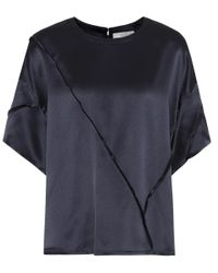 Vince - Blue Raw-edge Silk T-shirt - Lyst