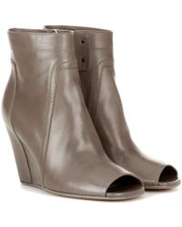 Rick Owens - Gray Leather Ankle Boots - Lyst