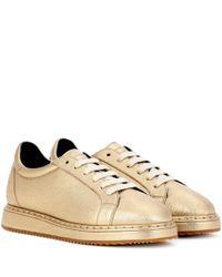 Brunello Cucinelli - Metallic Leather Sneakers - Lyst