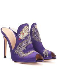 Gianvito Rossi - Purple Dragon Embroidered Satin Mules - Lyst