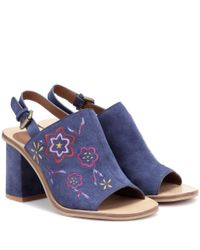 See By Chloé - Blue Embroidered Suede Sling-back Sandals - Lyst