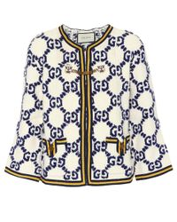Gucci - White Wool, Silk And Linen Cardigan - Lyst