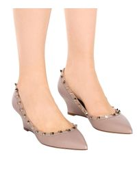 Valentino - Gray Rockstud Leather Wedges - Lyst