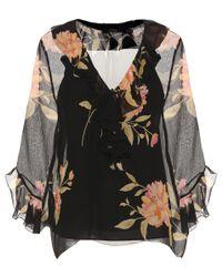 Polo Ralph Lauren - Black Ruffled Floral-printed Silk Blouse - Lyst
