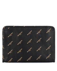 Balenciaga - Black Bazaar Mini Pouch Printed Leather Clutch - Lyst