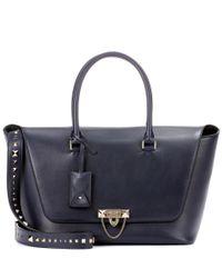 Valentino - Blue Demilune Double Handle Leather Shoulder Bag - Lyst