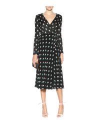 Diane von Furstenberg - Black Printed Silk Wrap Dress - Lyst