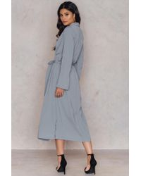 NA-KD - Gray Trenchcoat With Side Slit - Lyst