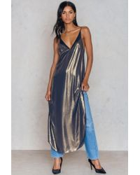 Free People - Metallic Anytime Shine Slip Dress - Lyst