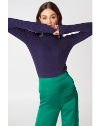 Trendyol - Ribbed Polo Sweater Purple - Lyst