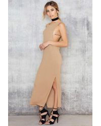 NA-KD | Natural Rib Split Side Midi Dress | Lyst