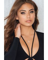 NA-KD - Metallic Stone Crescent Necklace - Lyst