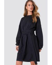 NA-KD - Tied Waist Oversize Dress Black - Lyst