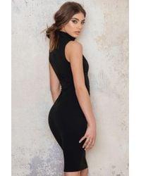 Goddiva | Black V Cutout High Neck Midi Dress | Lyst