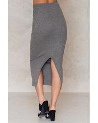 NA-KD - Gray Long Rib Knitted Slit Back Skirt - Lyst