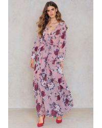 30375453e0 SHEIN Long Cuff Sleeve Maxi Dress in Purple - Lyst