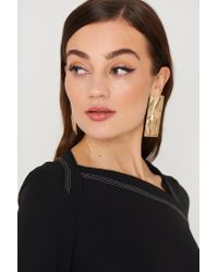 Mango - Metallic Embossed Earring Gold - Lyst