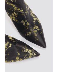 NA-KD - Black Jacquard Flower Satin Boots - Lyst