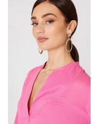 Mango - Metallic Embossed Hoop Earrings - Lyst