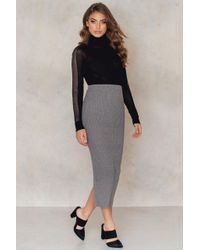 NA-KD - Gray Long Rib Knitted Slit Back Skirt - Lyst