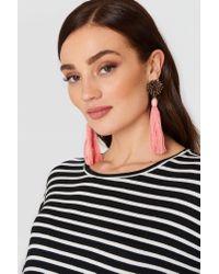 Mango - Pink Micro Beads Tassel Earrings - Lyst