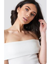 NA-KD - Multicolor Wide Off Shoulder Cropped Top Offwhite - Lyst