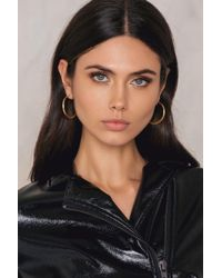 NA-KD - Metallic Flat Hoop Earrings - Lyst
