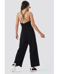 NA-KD - Double Strap Jumpsuit Black - Lyst