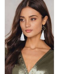 NA-KD - White Circle Tassel Earrings - Lyst