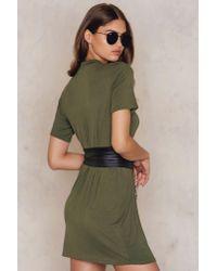 Boohoo - Green Choker Corset T-shirt Dress - Lyst