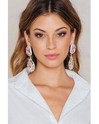 NA-KD - Pink Big Rhinestone Drop Earrings - Lyst
