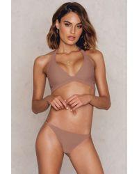 NA-KD - Brown Cut Out Bikini Top - Lyst