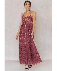 NA-KD | Red Flower Crochet Maxi Dress | Lyst