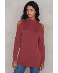 NA-KD - Red Cold Shoulder Polo Sweater - Lyst