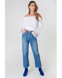 NA-KD - White Embroidered Smocked Off Shoulder Top - Lyst